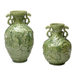 Cyan Design - Cyan Design Small Singapore Vase X-67540 - From the Singapore Collection, this Cyan Design vase features beautiful, intricate detailing and a classic Apple Green finish. This vase is adorned with various dragons, weaving throughout the piece. The lip features a simple flourish pattern and the look is completed with matching dragon-themed handles.
