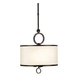 Currey & Company - Currey & Company Brownlow Small Pendant CC-9107 - The Brownlow Small Pendant is accented with rings of iron in a bronze gold finish. The rims of the beige shantung shade is detailed with a brass trim. The elegant simplicity of this design makes it an appropriate fixture for many settings.