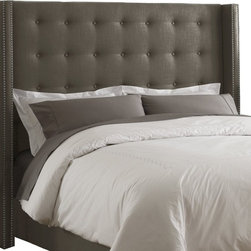Skyline Furniture Linen Nail Button Wingback Headboard, Gray - A gray tufted wingback headboard with nailhead trim is the perfect combination for a focal point in the room. We love that it's pretty affordable too.