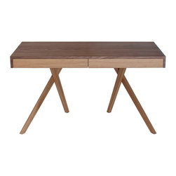Steuart Padwick - Legs Crossed Desk - Steuart Padwick - The Legs Crossed Desk offers a witty play on traditional leg arrangement, challenging the conventional construction of desks that have come before it. Featuring beautiful wood construction, the desk's slender, tapered legs are elegantly balanced in a crossed formation, supporting a substantial tabletop with side by side drawers on traditional wooden runners. Though the arrangement appears precariously perched, its intelligent design possesses unassuming strength and stability. Solid oak legs, veneered oak drawer fronts, and a veneered American black walnut top offer a two-tone composition that contributes further depth and dynamism to this charming piece.