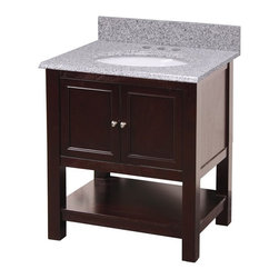 "Foremost - Foremost GAEA2422 Gazette 24"" x 22"" Vanity Cabinet Only in Espresso - Foremost GAEA2422 Gazette 24"" x 22"" Vanity Cabinet Only in EspressoThis 24"" console-style Vanity from the Gazette Collection has an alluring blend of traditional and modern influences. Features a lower storage shelf along with an inner storage space behind two doors. With the vanity's superior, clean-line design, this piece will look amazing in any bathroom.Foremost GAEA2422 Gazette 24"" x 22"" Vanity Cabinet Only in Espresso, Features:bull; Dimensions:  24"" w x 21.75"" d x 34"" h"