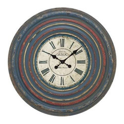 "Benzara - Wall Clock in Circular off White Dial and Blue Roman Numeral - Wall Clock in Circular off White Dial and Blue Roman Numeral. Adding a timeless appeal to the walls of your kitchen or living room, this antiqued wall clock will blend with the existing furnishings and decor. It comes with the following dimensions 30"" W x 2 1/2"" D x 30"" H."