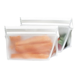 BlueAvocado - (Re)Zip Volume Pack - Set of Two - These reusable pouches offer extra volume for carrying a healthy dose of snacks or lunch to school or work, and their design is free of harmful chemicals and food-safe.   Includes two packs 3.25'' W x 2.5'' H x 2'' D Holds 4 oz. PEVA PVC-, lead- and BPA-free Zip closure Hand wash Imported