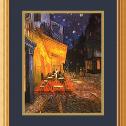 Amanti Art - Cafe Terrace at Night, 1888 Framed Print by Vincent Van Gogh - A quiet café comes to blazing life via the master, Van Gogh. This gallery quality print, matched to a midnight blue mat and gilded frame, adds warmth and light to your favorite setting.