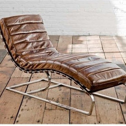 Vintage Chaise Lounge, Brown Crackled - I think this chaise is so chic. Pure vintage elegance and worn, buttery leather make for a gorgeous piece. It would invite many a lounger to stop and stay a while.