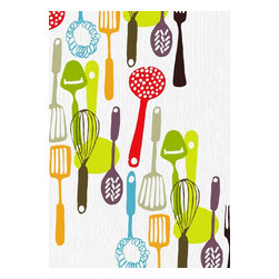 Kitchen Utensils, Limited Edition, Hand Printed Work - A fantastic hand drawn retro style original screenprint, from an edition of 90 on 300mg paper. 10 color print. Print has a white border. Print size 50cm x 70cm All prints numbered signed & embossed with artists stamp.