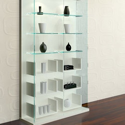 High Gloss White Vitrine - The vitrine features High Gloss White Lacquered base, 3 clear tempered glass shelves that are ideal for displaying accessories, 6 lower white lacquered shelves, and light inside. It is very stylish and versatile.