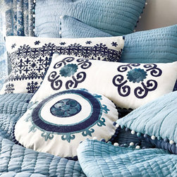 Ballard Designs - Granada Embroidered Pillow - All right! Now here's some oomph to add to your bedding. These pillows will pop against lighter colors.