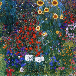 """Gustav Klimt A Farm Garden with Sunflowers - 16"""" x 16"""" Premium Archival Print - 16"""" x 16"""" Gustav Klimt A Farm Garden with Sunflowers premium archival print reproduced to meet museum quality standards. Our museum quality archival prints are produced using high-precision print technology for a more accurate reproduction printed on high quality, heavyweight matte presentation paper with fade-resistant, archival inks. Our progressive business model allows us to offer works of art to you at the best wholesale pricing, significantly less than art gallery prices, affordable to all. This line of artwork is produced with extra white border space (if you choose to have it framed, for your framer to work with to frame properly or utilize a larger mat and/or frame).  We present a comprehensive collection of exceptional art reproductions byGustav Klimt."""