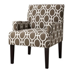 Dolce Upholstered Accent Arm Chair, Trellis - Geometric with sleek lines, this chair is perfect for adding a modern touch to your space. A pair of these would look great with a crisp white sofa.
