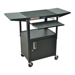 Luxor - Luxor Adjustable Computer Workstation and Presentation Center - AVJ42KBCDL - Shop for Carts and Stands from Hayneedle.com! Transform any room into a presentation hall with the Luxor Adjustable Computer Workstation and Presentation Center. This portable compact steel cart features a top shelf that adjusts from 24 to 42 inches high to accommodate the speaker. The cart also has a drop-leaf shelf on each side for extra equipment or supplies if needed and the keyboard pulls out for ease of use. This cart is available in black with a locking lower cabinet to secure equipment when not in use. About LuxorLocated in northern Illinois Luxor designs distributes and markets an extensive line of quality specialty furniture for offices schools libraries health care and automotive facilities. These high-quality cost-effective products improve workplace efficiency performance and productivity. Luxor's diverse product line includes mobile equipment tables computer workstations television mounting systems book trucks and more to keep your supplies organized and mobile. Each product is crafted from durable materials and is backed by a generous lifetime guarantee. Luxor is continually assessing the ever-changing needs of the workplace and developing new innovative products to address these needs. Use these versatile products for a variety of applications to improve the comfort of your work environment.