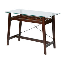 Office Star - Office Star Tribeca 42x22 Tool-Less Computer Desk in Espresso - Tribeca 42 Inch Tool-Less  Computer Desk in Espresso Solid Wood with Glass Desk Top What's included: Desk (1).