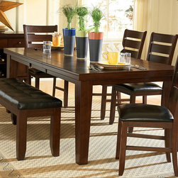 Homelegance - Homelegance Ameillia Extension Rectangular Dining Table in Dark Oak - The solid  clean lines of the Arts & Crafts movement are interpreted from modern times in the Ameillia Collection. Substantial tapered legs and the birch veneer  in a dark oak finish  complement this simple and refined dining option. The rectangular tables are flanked by the perfectly coordinating chair or bench option.