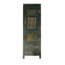 Golden Lotus - CaoZhou Antique Gold Painting Carving Armoire Cabinet - Look at this elegant Chinese antique cabinet which is made of solid elm wood.  Its front comes with very detail gold painting and carving.  It was made of Caozhou, southern of China.  This cabinet was used as rich family in long time ago.  Right now, it is perfect to use as armoire or chest.
