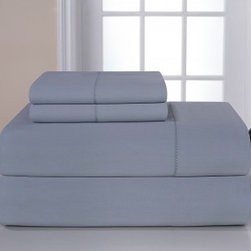 Pointehaven 800 Thread Count Deep Pocket luxury Sheet Set, Cloud Blue, Queen - An 800 thread count can only mean delicious comfort while sleeping.