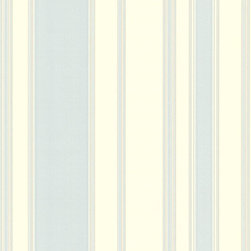 Pastel Blue Striped Wallpaper - Give your walls a traditional look with a modern flare with wallpaper from the Regent Collection by Brewster.