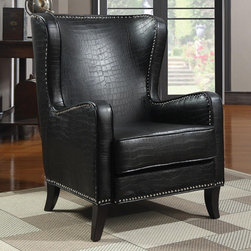 Celine Wing Accent Chair with Nailhead Trim - Black -