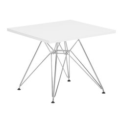 """Zuo - Zuo Wacky White Childrens Table - Perched atop an intricate chrome finish steel base the Wacky Collection is a modern childrens table for your child's contemporary living space. This square table is both a place to play draw or read and an eye-catching accent piece. The white finish table top is complemented beautifully by the polished legs below. Design by Zuo Modern. MDF construction. White finish. Chrome finish steel base. 23 3/4"""" wide. 23 3/4"""" deep. 19 1/4"""" high.  MDF construction.   White finish.   Chrome finish steel base.   23 3/4"""" wide.   23 3/4"""" deep.   19 1/4"""" high.  Some assembly required."""