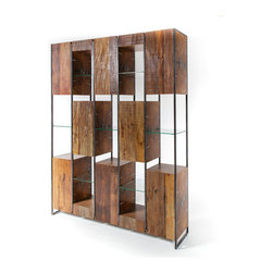 Marley Solid Reclaimed Wood Large Bookcase - Industrial, rustic yet Modern with environmentally conscious design. Our Marley Solid Reclaimed Wood Large Bookcase combines unique materials such as metal, glass, sustainably harvested reclaimed pine wood and walnut. Juxtaposing warm patinas with rough and refined woods lend a sense of history to any space, though never appear dated. Open glass shelves and 8 cabinet doors provide massive storage and will work everywhere from the living room to the dining room or home office. The artistic use of tone ensures every one-of-a-kind piece is a focal point able to blend beautifully with others.