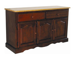 Sunset Trading - 31 in. Eco-Friendly Traditional Buffet - American classic style piece. Large hand crafted solid wood and wood veneer buffet. Sturdy quality craftsmanship. Offers abundant storage while providing distinct character to home. Three raised panel cathedral arch doors with adjustable shelf. Two large drawers with round knob handles for easy sliding. Scalloped apron trim at bottom of base. Contrasting light oak finished top. Nutmeg finished base cabinet. Warranty: One year. Made from Malaysian oak. Nutmeg finish. Made in Malaysia. No assembly required. 53 in. W x 18 in. D x 31 in. H (117.04 lbs.)This beautifully designed furniture supplied by Sunset Trading will assure you many years of use and enjoyment. Invite a touch of country warmth and beauty into your home with this from the Sunset Trading - Sunset Selections Collection. Versatile enough to complement your dining area, den or office, this impressive piece. Appropriately multi-functional as your dining room buffet or den or office sideboard. For enhanced elegance pair this piece with the matching glass door and interior mirrored back hutch not included. Prominently display your china, books or family collectibles bringing warmth and classic beauty to your home. A timeless piece for generations to come!