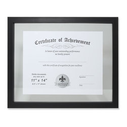 "Lawrence Frames - 11x14 Multi Use Black Float Document Frame - Contemporary brushed black composite multi use ""float"" document frame.  Can be used for any document up to 11"" x 14"". This usefull and attractive frame allows you to put any size document (or documents) between two pieces of glass for a beautiful and unique display. Perfect for those hard to find sizes! Smaller photos can also be combined and arranged to make an exquisite collage.  Wall only, not for tabletop use.  Comes with hardware for vertical or horizontal wall mounting. High quality picture frame is made with exceptional workmanship and comes individually boxed."