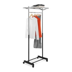 Honey Can Do - Garment Rack w Top Shelf & Grid, Chrome/Black - Top shelf- store folded clothes or accessories. steel frame- sturdy and rustproof. Locking swivel casters- easy to move. 16.5 in. x 22 in.