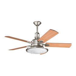 """DECORATIVE FANS - DECORATIVE FANS Kittery Point 52"""" Contemporary Ceiling Fan X-PA020003 - From the Kittery Point Collection, this Kichler Lighting fan blends industrial styling with warm finishes. A Fresnel glass lens is accented by an Antique Pewter finish and the look is finished with five reversible light cherry and dark cherry fan blades."""