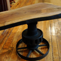accent furniture - Hand made from recycled industrial gears and reclaimed Walnut.