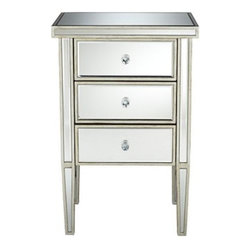 Antique Silver 3-Drawer Mirrored Nightstand - This antique three-drawer mirrored nightstand is elegant and chic, but also calming and soft at the same time.