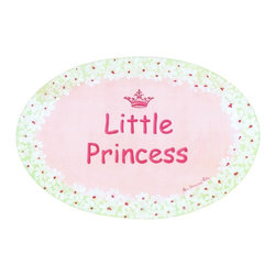 Stupell Industries - Little Princess with Small Pink Crown Oval Wall Plaque - Made in USA. MDF Fiberboard. Hand finished and packed. Approx. 11 in. W x 15 in. L. 0.5 in. ThickThe Kids Room by Stupell features exceptional handcrafted wall decor for children of all ages.  Using original art designed by in-house artists, all pieces feature hand painted and grooved borders as well as colorful grosgrain ribbon for hanging.  Made in the USA, everything found in The Kids Room by Stupell exudes extraordinary detail with crisp vibrant color. Whether you are looking for one piece to match an existing room's theme, or looking for a series to bring the kid's room to life, you will most definitely find what you are looking for in The Kids Room by Stupell.