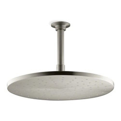 "Kohler - Kohler K-13690-BN Vibrant Brushed Nickel Rainhead 12"" Rainhead Round - 12"" Contemporary Round Rain Showerhead The new KOHLER Rainhead collection delivers the most comprehensive offering of rain showerheads available in the market today, providing an affordable and scalable showering solution that coordinates designs and finishes with the rest of the KOHLER faucets and accessories.  Low profile design creates a striking contemporary centerpiece in any custom shower installation Superior spray performance with Katalyst Spray Technology™ delivers a luxurious and drenching  rain  experience Optimized sprayface design creates a denser uniform spray pattern for consistent coverage and feeling of warmth MasterClean™ sprayface with translucent nozzles resists mineral buildup and ensures reliable performance for years to come 2.5 gallons per minute flow rate Solid brass construction ensures durability and reliability Comprehensive Finish Offering compliments KOHLER s complete faucet and accessory program"