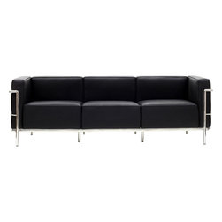 "IFN Modern - Le Corbusier LC3 Style Sofa Italian, Black - The original Le Corbusier Sofa set collection was designed for the prestigious Maison La Roche house in Paris, France in the year 1928. This design is a modernist take on the traditional club chair. This collection varies in a smaller version known as the LC2 and a larger version known as the LC3 which is considered to be more functional for practical living purposes. Exceptional in comfort, Le Corbusier often thought of his pieces as ""cushion baskets."" An intriguing quality of the LC2 is the externalized metal frame which offers support to the base and extends as the legs and runs the entire length of this beautiful piece. The LC2 is not only attractive in a forward facing view- the metal frame work extends into design detail from the sides and back as well allowing for placement in any given area of a room. This is a quality, highly detailed reproduction of the original Le Corbusier LC3 Grand Sofa.                                                Overall Dimensions: 24.4"" H x 93.3"" L x 28.7"" D"