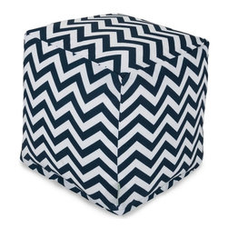 Majestic Home Goods - Navy Chevron Small Cube - Add style and color to your living room or outdoor seating arrangement with Majestic Home Goods Chevron small cube ottoman. This cube is perfect for use as a footstool, side table or as extra seating for guests. Woven from outdoor treated polyester, these cubes have up to 1000 hours of U.V. protection and are able to withstand all of nature's elements. The beanbags are eco-friendly and feature a zippered slipcover. Spot clean slipcover with mild detergent and hang dry. Do not wash insert.