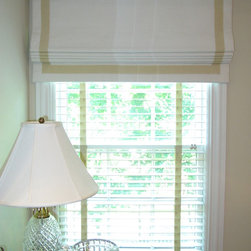 Roman Shades - A banded and blackout lined Roman shade valance for a master bedroom. Rosemarie Garner
