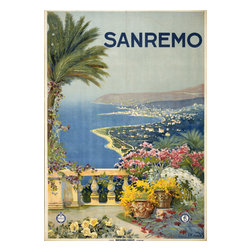 Keep Calm Collection - Sanremo Vintage Travel Poster - This product is reproduced from a publication, advertisement, or vintage poster. To maintain consistency with the original image, this final product has not been retouched. This print is produced on a 270 gsm fine art paper stock.