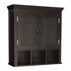 Elegant Home Fashions - Savannah Two Door Wall Cabinet - The Savannah Two Door Wall Cabinet with Cubbies from Elegant Home Fashions features weaving rattan on the door for a rich stylish look. Its design offers plenty of storage with one shelf and three cubbies. Two open fixed cubbies and one adjustable shelf  makes storing items of different heights easier. Wooden knobs add simple elegance. This cabinet comes with assembly hardware.