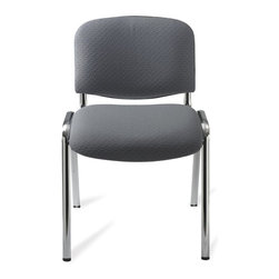 Safco - Visit Upholstered Stacking Chair in Gray - Set of 2 - Stacking chairs for larger group settings are also built for everyday seating choices. The Visit Collection is a classic choice that addresses the needs of large or small gatherings. Chromed framing with flared legs complement gray upholstered seats and backs. Set of 2. Stackable up to seven high. GREENGUARD certified. 250 lbs. weight capacity. 15 ga. thick steel frame. 100% acrylic upholstery. Glides made from nylon. Frame made from steel. Seat and back made from polyurethane. Chrome finish. No assembly required. Seat Size: 18 in. W x 15.5 in. D. Back Size: 18 in. W x 12.5 in. H. Seat Height: 18 in.. Overall: 22 in. W x 23.5 in. D x 31.5 in. H (12 lbs.)It's the perfect seat for any Visitor! Visit stack chairs are great for any place that needs extra seating. For all your Visitors in your reception, waiting, conference or training rooms it is the perfect blend of function and comfort. Add Visit to any office for a quick meeting or any meeting space that demands another seat! Or even have it available in the mail room, server room or supply room - you never know when a seat is needed!