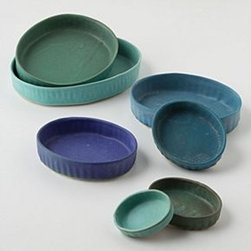 """Anthropologie - Nested Baker Set - Set of sevenStoneware0.5"""" - 1.5""""H, 2"""" - 9"""" diameterDishwasher and microwave safeHandmade in USA"""