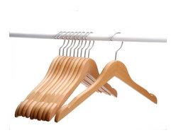 J.S. Hanger - J.S. Hanger® Solid Beech Wooden Coat/Jacket Hangers, Set of 10 - Feature: