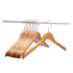J.S. Hanger - J.S. Hanger® Solid Beech Wooden Coat/Jacket Hangers, Set of 10 - Feature: