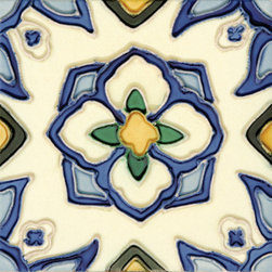 "Glass Tile Oasis - Jirasol 6"" x 6"" Blue 6"" x 6"" Deco Tiles Glossy Ceramic - All ceramic tiles are hand painted. Glazed thickness will vary from tile to tile, resulting in color variation. Hand-Painted Ceramic tiles will craze and crackle over time, which is intentional and a desired effect."