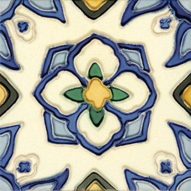 """Glass Tile Oasis - Jirasol 6"""" x 6"""" Blue 6"""" x 6"""" Deco Tiles Glossy Ceramic - All ceramic tiles are hand painted. Glazed thickness will vary from tile to tile, resulting in color variation. Hand-Painted Ceramic tiles will craze and crackle over time, which is intentional and a desired effect."""