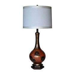 """Used 1950s Modernist Ceramic Lamp - A 1950s Modernist ceramic lamp. The table lamp features a red, gold, and black ceramic body and includes a complimentary silk shade.  A perfect accessory to Mid-Century Modern decor, this lamp will light up your space with style!    Shade, 16""""Dia x 11""""H"""