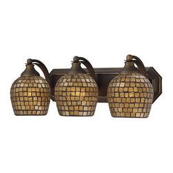 Elk Lighting - Elk Lighting 570-3B-GLD 3 Light Vanity in Aged Bronze & Gold Mosaic Glass - 3 Light Vanity in Aged Bronze & Gold Mosaic Glass belongs to Vanity Collection by Elk Lighting   Sconce (1)