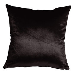 Pillow Decor - Pillow Decor - Milano 16 x 16 Black Decorative Pillow - The Milano 16 x 16 Black Decorative Pillow is a luxurious, high sheen accent pillow, made from an exceptionally soft but durable fabric. The fabric has a flat brushed velveteen finish through which fine, narrow, horizontal lines are cut. This richly colored pillow is elegant and sophisticated and would be suitable in formal and informal settings.