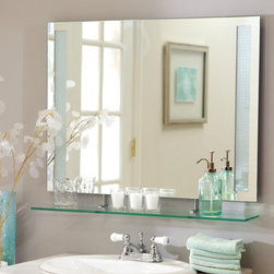 Decor Wonderland - Frameless Roxi Wall Mirror with Shelf - 31.5W x 23.6H in. Multicolor - SSM151 - Shop for Bathroom Mirrors from Hayneedle.com! This frameless Roxi Mirror with shelf will be a beautiful addition to your home decor. Perfect for your living room bedroom or bathroom the added shelf at the bottom gives you added display space. The detailing on the edges gives this mirror a modern look which will look great in your home. Constructed of strong 3/16 glass and metal with a durable double coated silver backing with seamed edges this mirror is made to last. Mounting hardware is included for your convenience. Decor Wonderland of USDecor Wonderland US sells a variety of living room and bedroom furniture mirrors lamps home office necessities and decorative accessories. Decor Wonderland strives to add variety to their selection so that every home is beautifully and perfectly decorated to suit their customer's unique tastes.