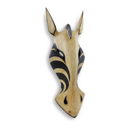 Zeckos - Natural/Black Zebra Wall Mask African Safari Decor 20 In. - This zebra wall mask adds an attractive accent to rooms with African safari themed decor. It is hand crafted from lightweight Albesia wood and measures 20 inches tall, 7 inches wide, and 3 inches deep. The mask easily mounts to any wall with a single nail or screw by the hanger on the back. NOTE: These masks are hand carved and hand painted and may have slight variations from the one pictured.