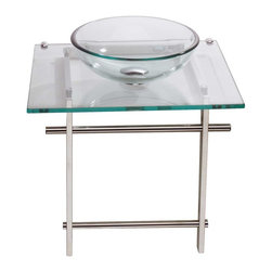 Renovators Supply - Glass Sinks Chrome Wash Station Child Clear Glass Console Sink - A mini glass pedestal sink sized for a child. Accepts single hole faucet. Faucet and drain assembly sold seperately--see our huge selection! Console 18 in. h. x 19 5/8 in. w. x 16 ��_��___ in. proj. Bowl 12 1/8 in. dia. x 4 in. deep.