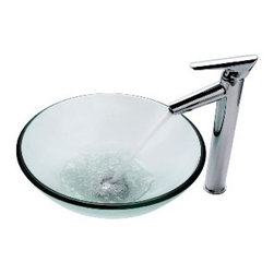 Kraus - Kraus Clear Glass Vessel Sink and Decus Faucet Chrome - *Add a touch of elegance to your bathroom with a glass sink combo from Kraus