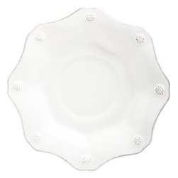 "Juliska - Juliska Berry and Thread Scallop Saucer Whitewash - Juliska Berry and Thread Scallop Saucer Whitewash. An elegant nest for tea cup, the ruffled rim adds a feminine touch with room for a lump of sugar or two and a wedge of lemon. Dimensions: 7"" W"
